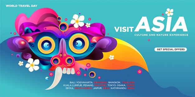Plantilla de banner de visita asiática para el día mundial de viajes