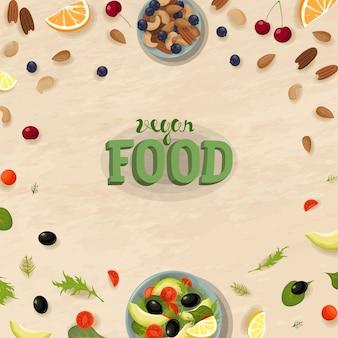 Plantilla de banner de vista superior de aperitivos de ensalada. desayuno de comida vegana saludable. cuenco de frutas y verduras verdes. ración de dieta fitness fresco vegetariano plano lay