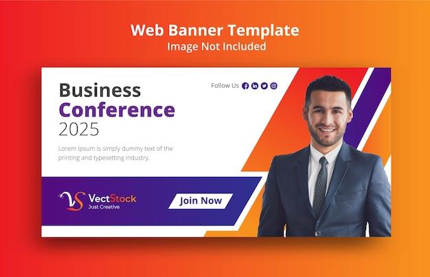 Plantilla de banner de web de concepto de conferencia de negocios