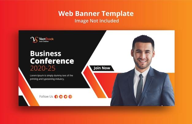 Plantilla de banner web para conferencia de negocios