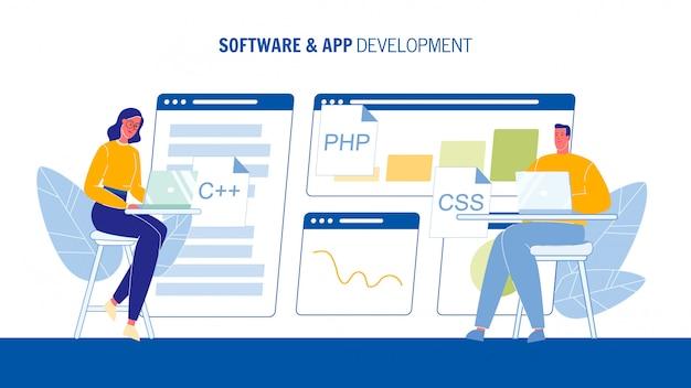 Plantilla de banner web de desarrollo de software y aplicaciones