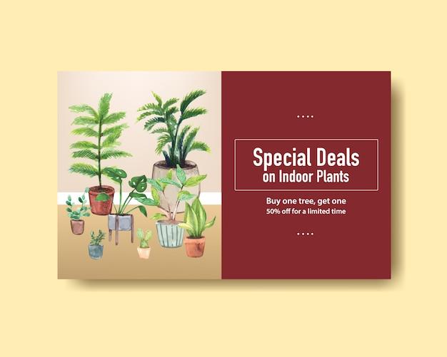 Plantilla de banner web con diseño de plantas de verano para redes sociales, internet, web, comunidad en línea y publicidad de ilustración de acuarela