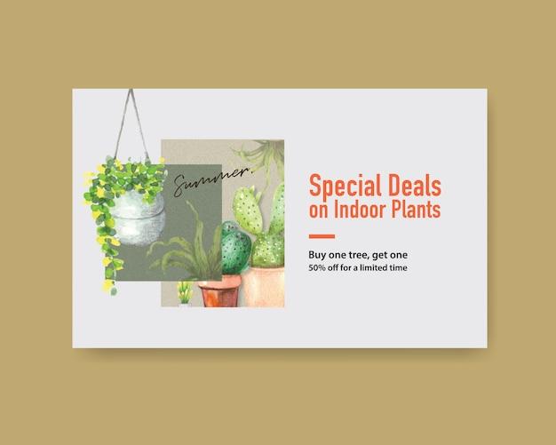 Plantilla de banner web con diseño de plantas de verano