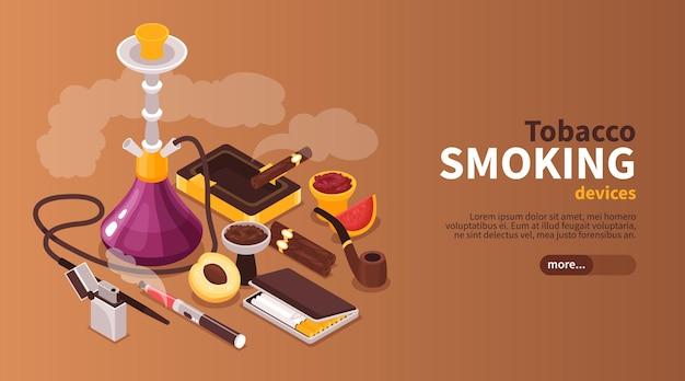 Plantilla de banner de web horizontal de humo de tabaco de cachimba isométrica