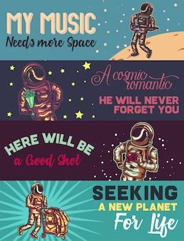 Plantilla de banner web con ilustraciones de astronauta con guitarra, flores, cámara y otras cosas.