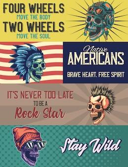 Plantilla de banner web con ilustraciones de una calavera con casco, nativo americano, punk, calavera con gorra.