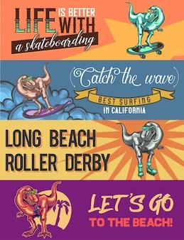 Plantilla de banner web con ilustraciones de dinosaurios en la tabla de surf, patineta, patines y en la playa.