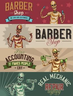 Plantilla de banner web con ilustraciones de esqueleto barbero, mecánico y contador.