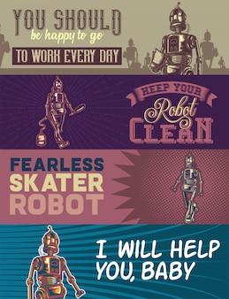 Plantilla de banner web con ilustraciones de un robot con aspiradora, bolsa y robots andantes.