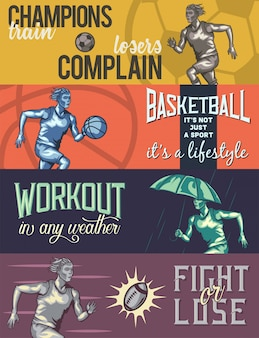 Plantilla de banner web con ilustraciones de running man.
