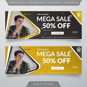 Plantilla de banner web de mega venta