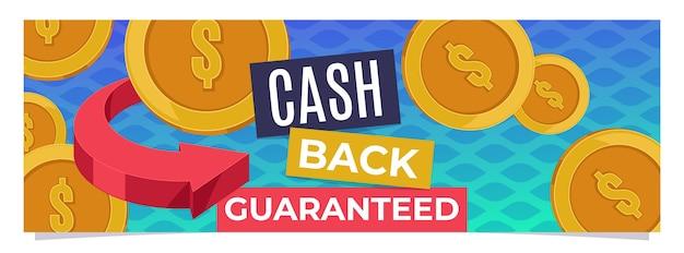 Plantilla de banner web de monedas garantizadas de devolución de efectivo