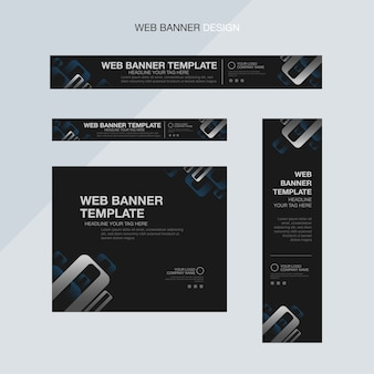 Plantilla de banner web negro elegante