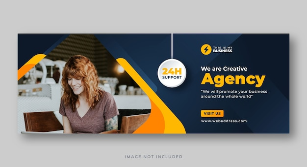 Plantilla de banner web de portada de facebook de agencia de marketing
