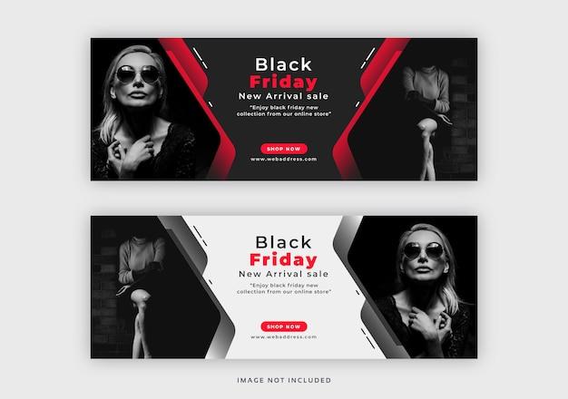 Plantilla de banner web de portada de facebook de black friday