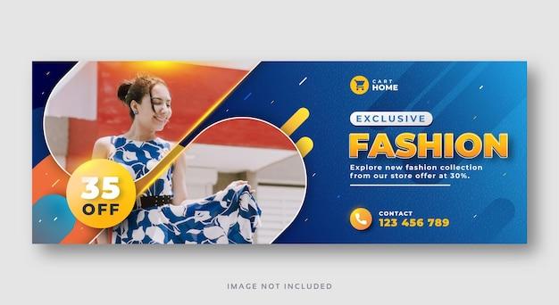 Plantilla de banner web de portada de facebook de venta de moda