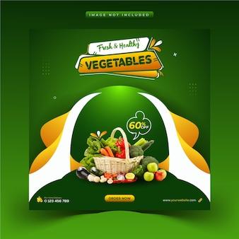 Plantilla de banner web y publicación de instagram de redes sociales de alimentos saludables creativos y vegetales