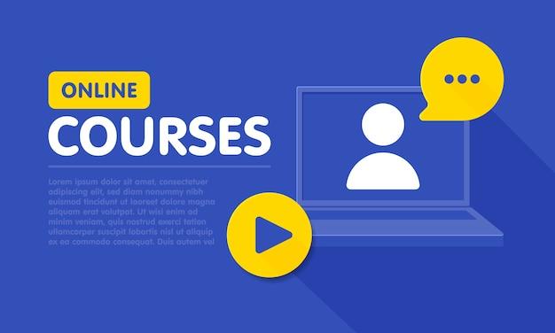 Plantilla de banner web de recursos de cursos de educación en línea, cursos de aprendizaje en línea, educación a distancia, tutoriales de aprendizaje electrónico. ilustración.