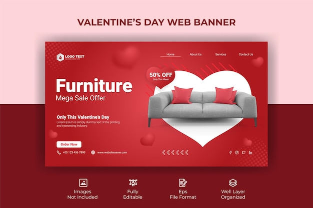 Plantilla de banner web de san valentín