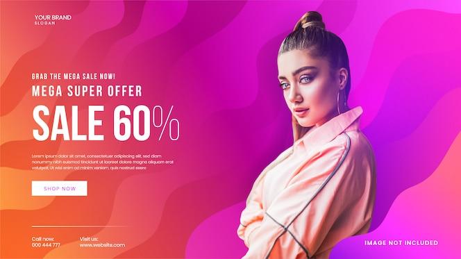 Plantilla de banner web súper exclusiva de mega venta de moda