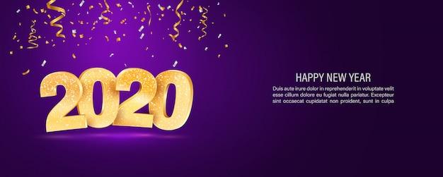 Plantilla de banner web de vector de feliz año nuevo 2020