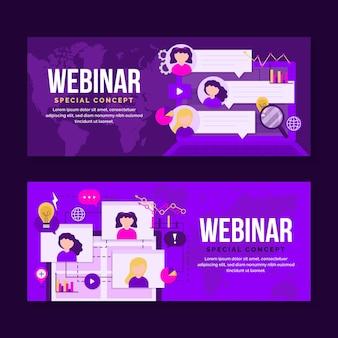 Plantilla de banner de webinar púrpura