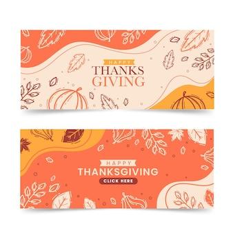 Plantilla de banners de acción de gracias dibujados a mano
