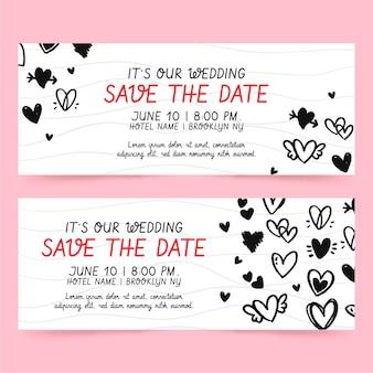 Plantilla de banners de boda con corazones garabatos