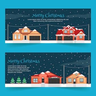Plantilla de banners de ciudad de navidad de diseño plano