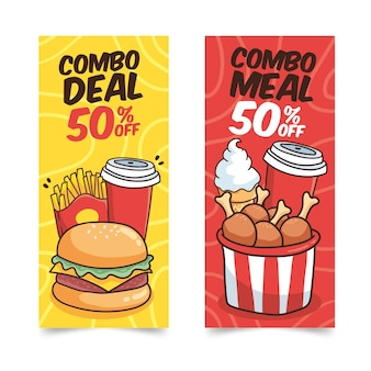 Plantilla de banners de comidas combinadas