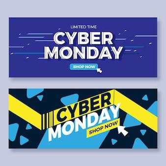 Plantilla de banners de cyber monday de diseño plano
