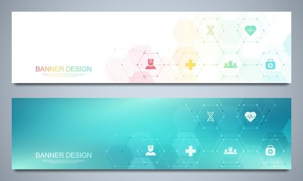 Plantilla de banners para decoración sanitaria y médica con iconos y símbolos. concepto de tecnología de ciencia, medicina e innovación.