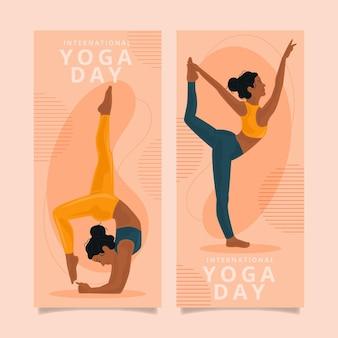 Plantilla de banners del día internacional del yoga
