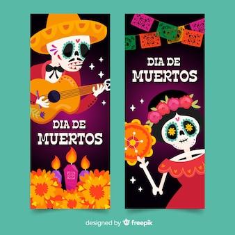Plantilla de banners de día de muertos dibujados a mano