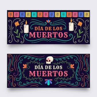 Plantilla de banners de dia de muertos en diseño plano