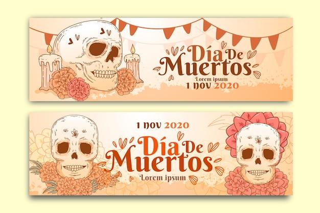 Plantilla de banners de dia de muertos vintage