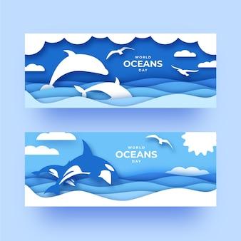 Plantilla de banners del día mundial de los océanos