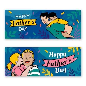 Plantilla de banners del día del padre dibujado a mano