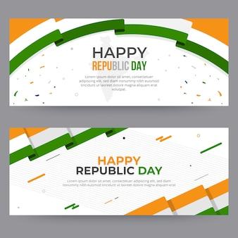 Plantilla de banners de día de la república india de diseño plano