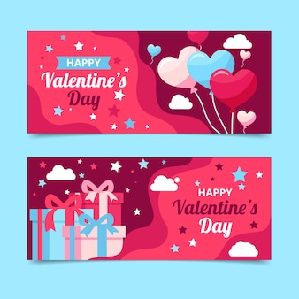 Plantilla de banners de día de san valentín de diseño plano