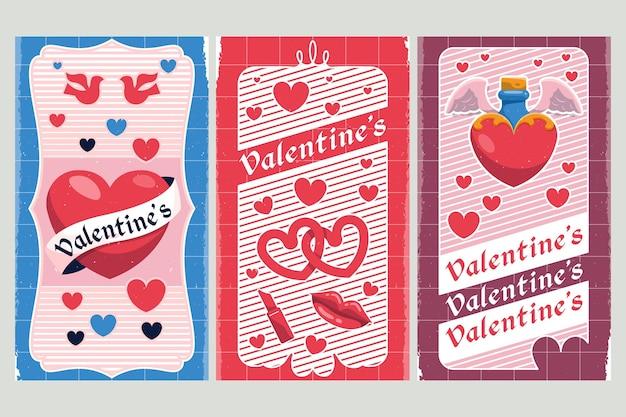 Plantilla de banners de día de san valentín vintage