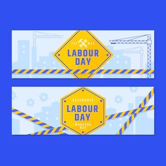 Plantilla de banners de día del trabajo de diseño plano