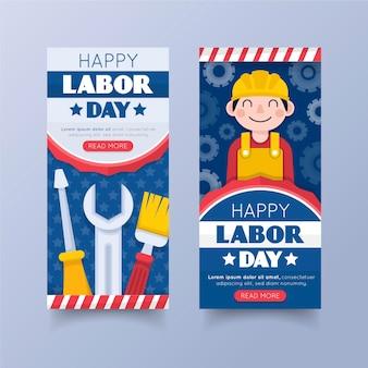 Plantilla de banners de día del trabajo de estados unidos de diseño plano
