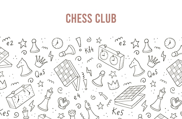 Plantilla de banners dibujados a mano con elementos de juego de ajedrez de dibujos animados