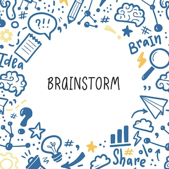 Plantilla de banners dibujados a mano con lluvia de ideas, idea, elementos del cerebro