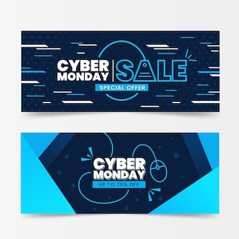 Plantilla de banners de diseño plano ciber lunes