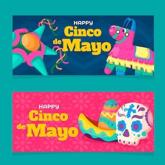 Plantilla de banners de diseño plano cinco de mayo