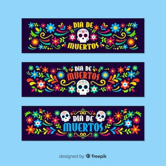 Plantilla de banners de diseño plano día de muertos