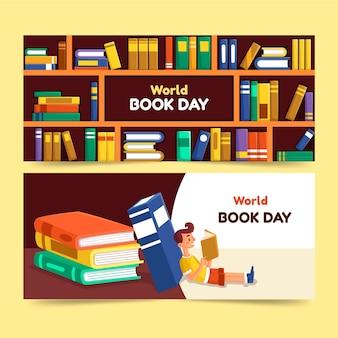 Plantilla de banners de diseño plano día mundial del libro