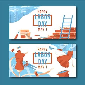 Plantilla de banners de diseño plano día del trabajo